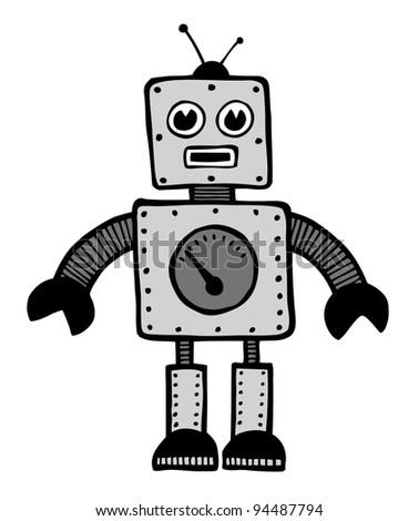 Robot android cartoon illustration vector design - stock vector