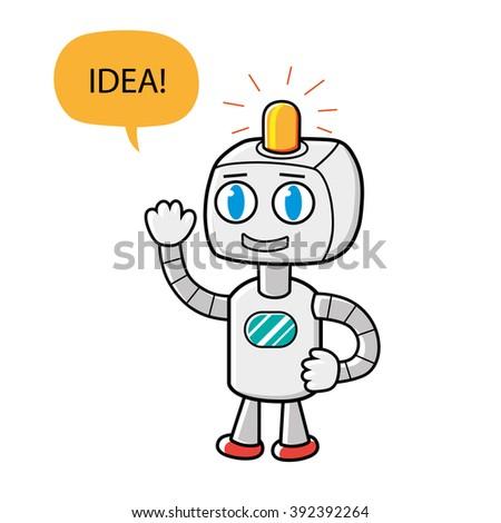 Robot character having an idea. - stock vector