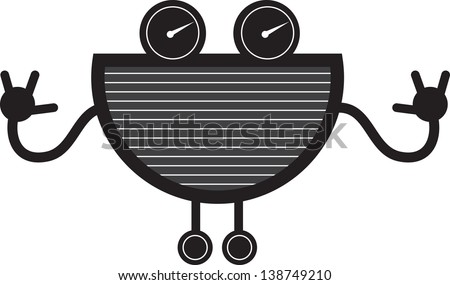 Robot creature with large grill mouth  - stock vector