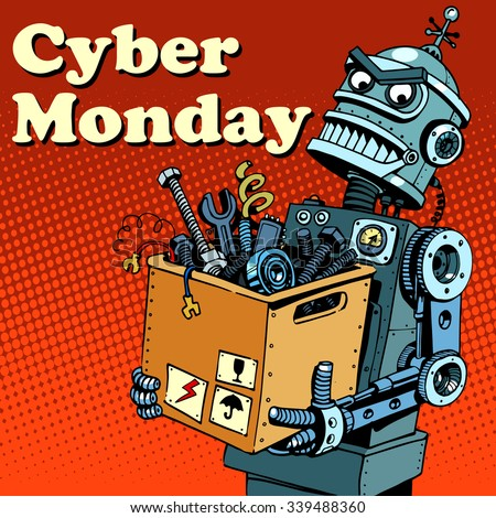 Robot Cyber Monday gadgets and electronics pop art retro style - stock vector