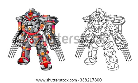 Robot cyborg with weapons in the form of claws. White background. Vector illustration. Coloring book. - stock vector