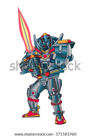 Robot cyborg with weapons in the form of Fire sword. White background. Vector illustration. - stock vector