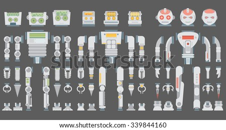 Robot design attributes,body parts and other details of vector image illustration set. Flat vector.
