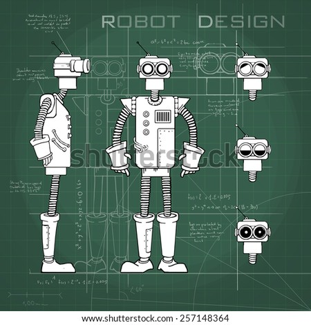 Robot Design, front side view, and schematics, vector illustration - stock vector