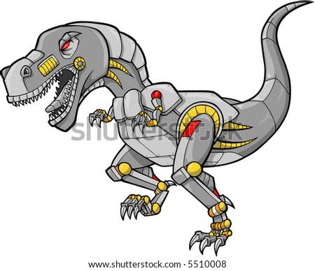 Robot Dinosaur Vector Illustration - stock vector