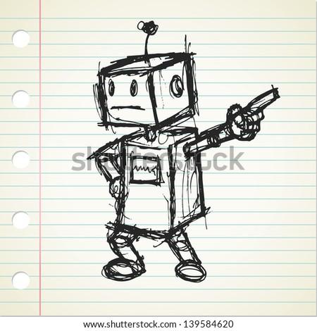 robot doodle - stock vector