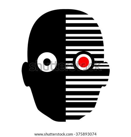 robot face icon - stock vector