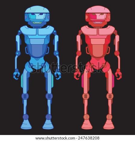 Robot, fantasy robot Color - stock vector