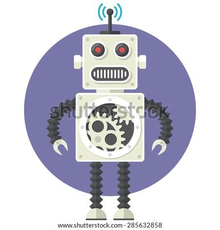 Robot, Flat design, vector illustration, isolated on white background - stock vector