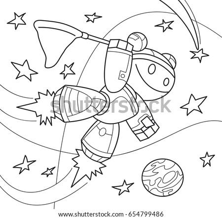Robot Girl Net Space Coloring Book Stock Vector 654799486 - Shutterstock