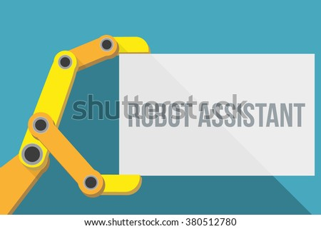 Robot hand holding blank sign with space for text. Flat Design. Vector Illustration isolated on background. - stock vector