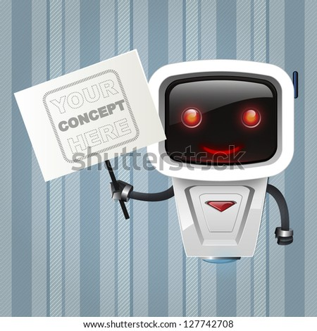 robot holding a post over vintage background. - stock vector