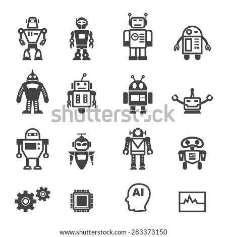 robot icons, mono vector symbols - stock vector