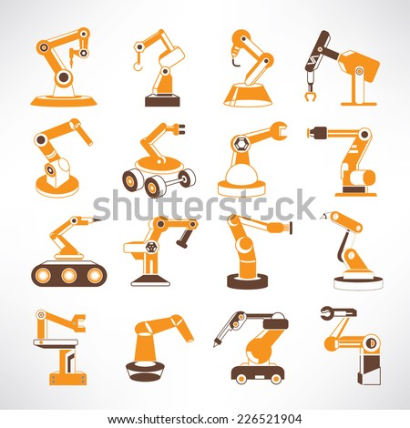 robot icons, robotic arm icons,industrial robot in manufacturing process icons, orange color theme - stock vector