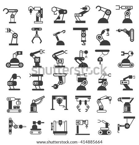 robot icons set - stock vector