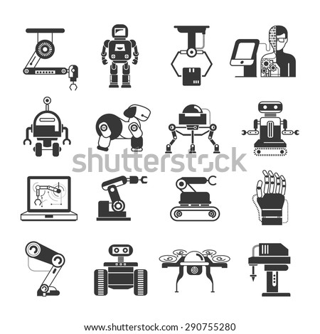 robot icons set, artificial intelligence icons - stock vector