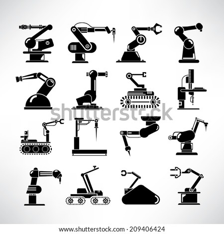 robot icons set, industry robot icons, robotic arm set, rescue robots - stock vector