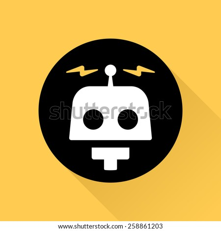 Robot illustration graphic icon logo with electric bolts