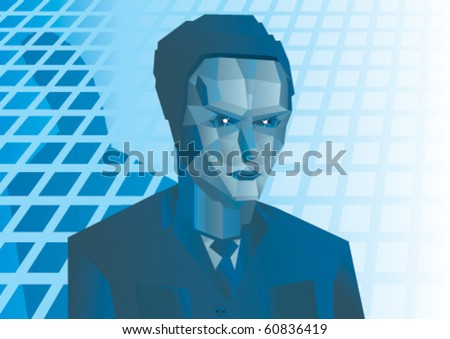 robot in jacket on blue background - stock vector
