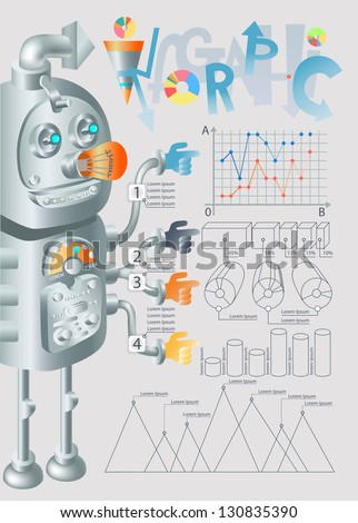 robot infographic design, eps10 - stock vector