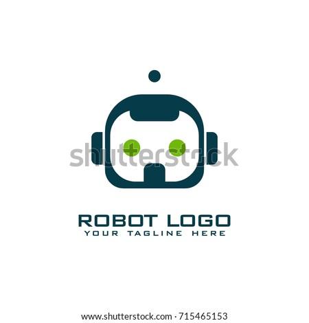robot logo vector art template stock vector 715465153 shutterstock