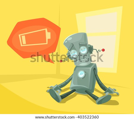 Robot low with battery. Vector flat cartoon illustration - stock vector