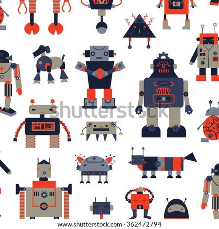 robot mechanic toy pattern - stock vector