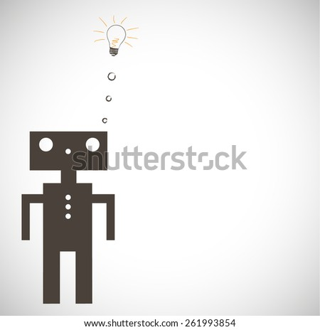 Robot on Grey Background. Vector. - stock vector