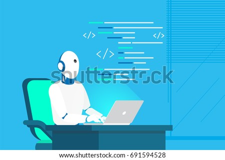 Robot online assistance and machine learning. Flat vector illustration of futuristic robot working with laptop for coding or developing project. Chatbot texting and supporting customers in live chat