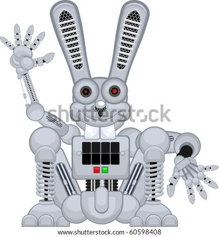 robot rabbit r2 sit - stock vector
