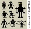 Robot Silhouettes 1. Smooth and detail robot silhouette vectors with eyes lamp. Easy to edit or change color. Good use for symbol, logo, sticker, wallpaper, and any design you want. - stock vector