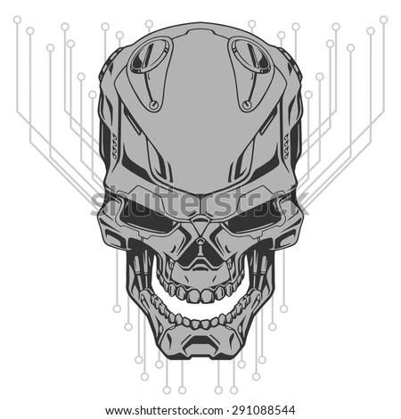 Robot skull line art - stock vector