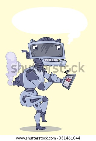 robot standing and holding tablet isolated  - stock vector