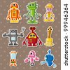 robot stickers - stock vector