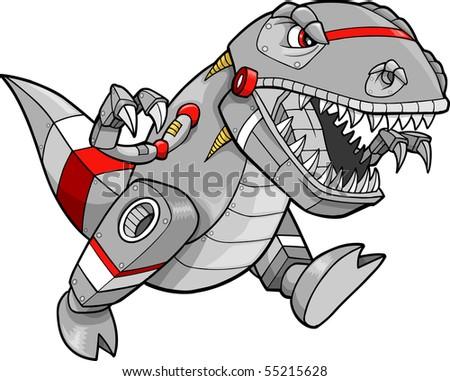 Robot Tyrannosaurus Dinosaur Vector Illustration - stock vector