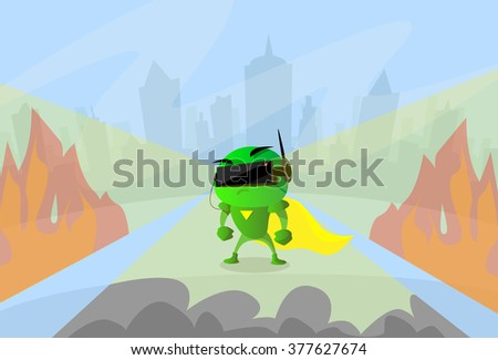 Robot Wear Digital Glasses Head Wearable Technology Virtual Reality Cyber Video Game Flat Vector Illustration - stock vector