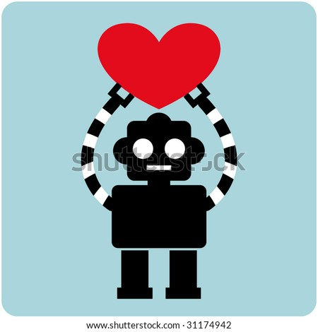 Robot with Heart - stock vector