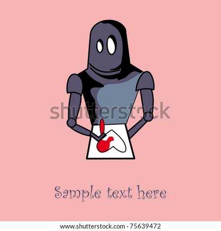 Robot with heart card design - stock vector