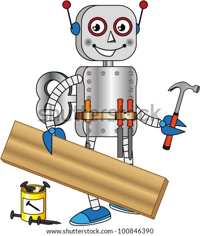 Robot with tools for working wood - stock vector
