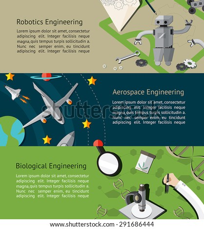 Robotic, aerospace, and biological engineering education infographic banner template layout background website page design, create by vector - stock vector