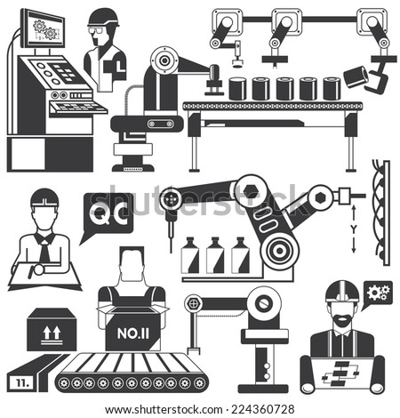 robotic arm for packing and quality control in manufacturing process, manufacturing and production line icons set - stock vector
