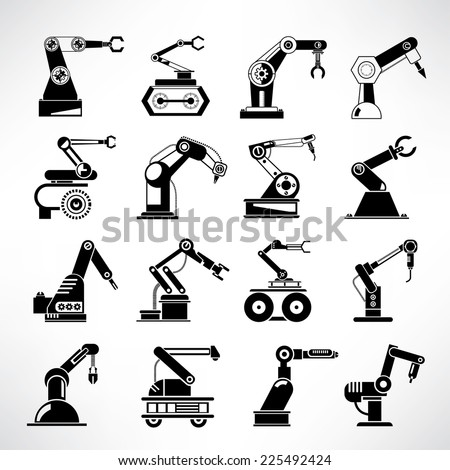 robotic arm icons,industrial robot in manufacturing process icons - stock vector