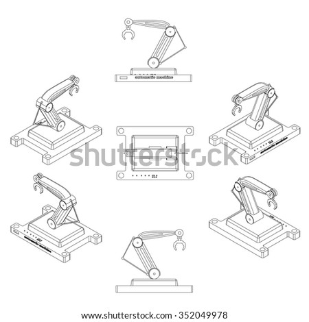 Robotic arm icons,industrial robot in manufacturing process. Vector Illustration. - stock vector