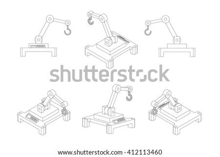 Robotic arm icons,industrial robot in manufacturing process. Vector set. - stock vector