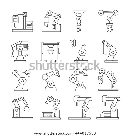 robotic arm icons, industrial robot outline set