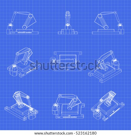 Robotic arm set robot welder manufacturing stock vector 2018 robotic arm set robot welder in manufacturing process vector blueprint 3d illustration malvernweather Images