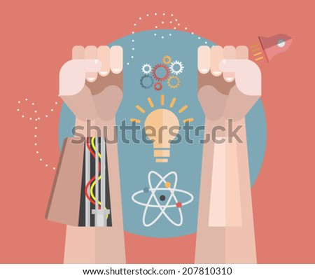 Robotic arms with science icons on red background - stock vector