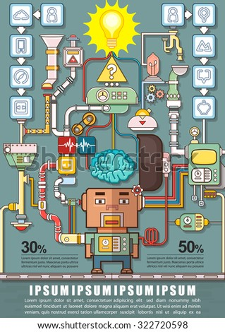 Robotic engineering put the brain into a robot, Robot factory infographics charts, symbols, icons and graphic elements, Vector illustration - stock vector