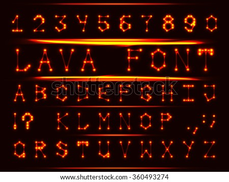 Robotic font in the style of hot metal. The letters and numbers. - stock vector