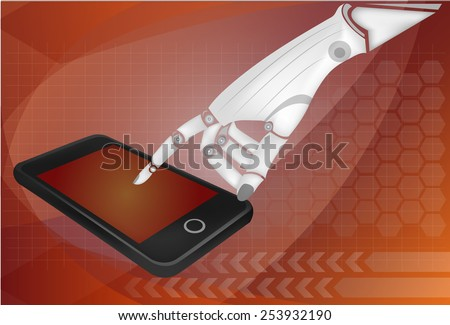 Robotic hands holding a mobile phone with blank screen. Contains vector paths for screen and hands. - stock vector